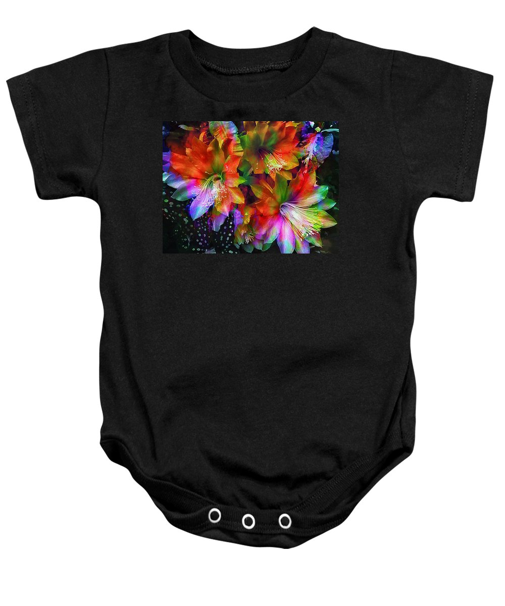 rainbow Flowers Baby Onesie featuring the photograph Rainbow Flowers by Daniel Hagerman