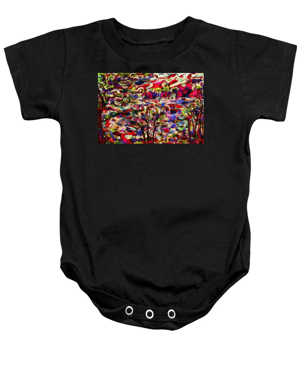 Landscape Baby Onesie featuring the mixed media Rainbow Landscape by Natalie Holland