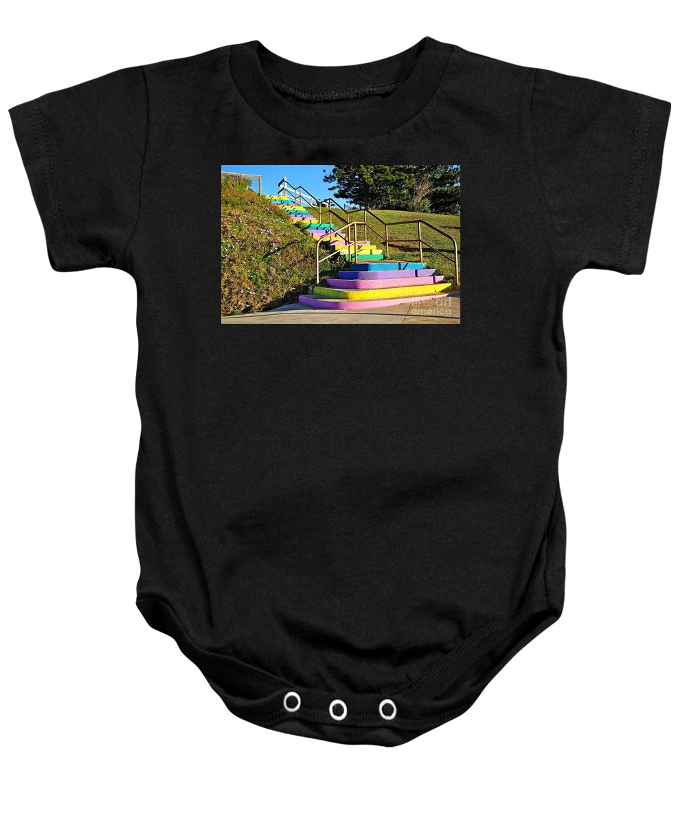 Photography Baby Onesie featuring the photograph Rainbow Steps by Kaye Menner