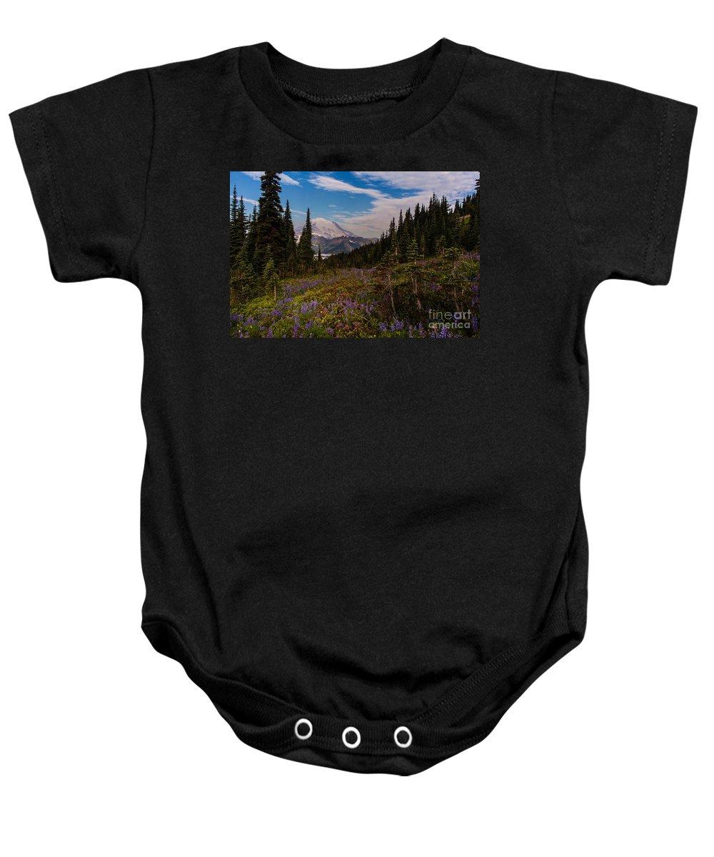 Tipsoo Baby Onesie featuring the photograph Rainier Tipsoo Wildflowers by Mike Reid