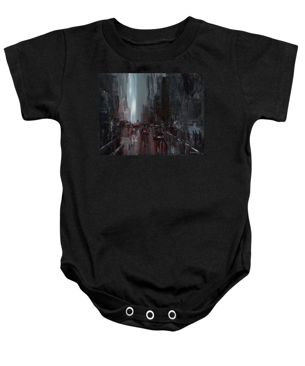 City Baby Onesie featuring the painting Rainy City. Part II by Salavat Fidai