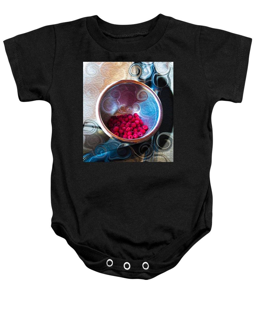 Georgia Okeefe Baby Onesie featuring the painting Raspberry Reflections by Omaste Witkowski