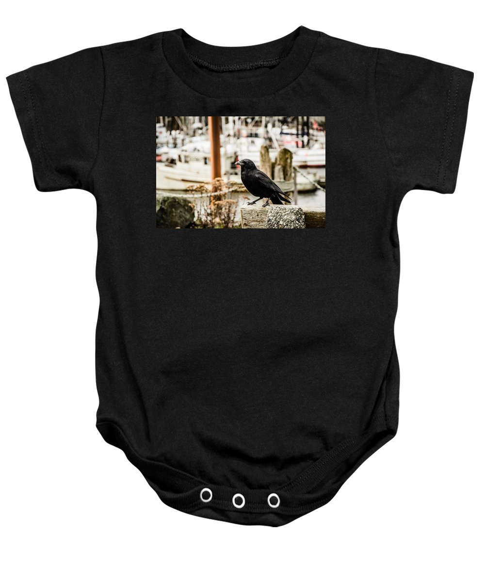 Raven Baby Onesie featuring the photograph Raven Ucluelet by Roxy Hurtubise