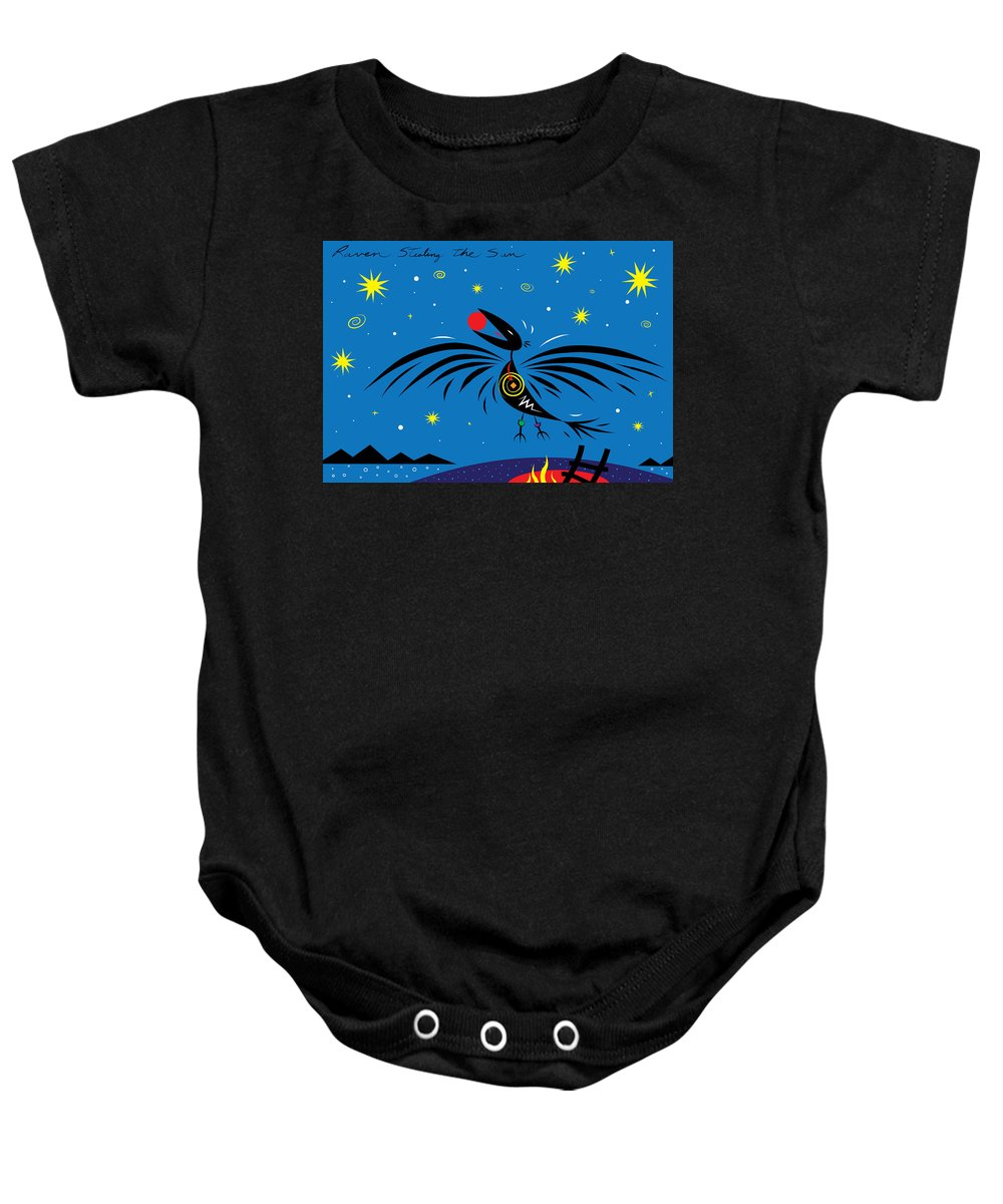 Raven Baby Onesie featuring the digital art Raven Stealing The Sun by William West