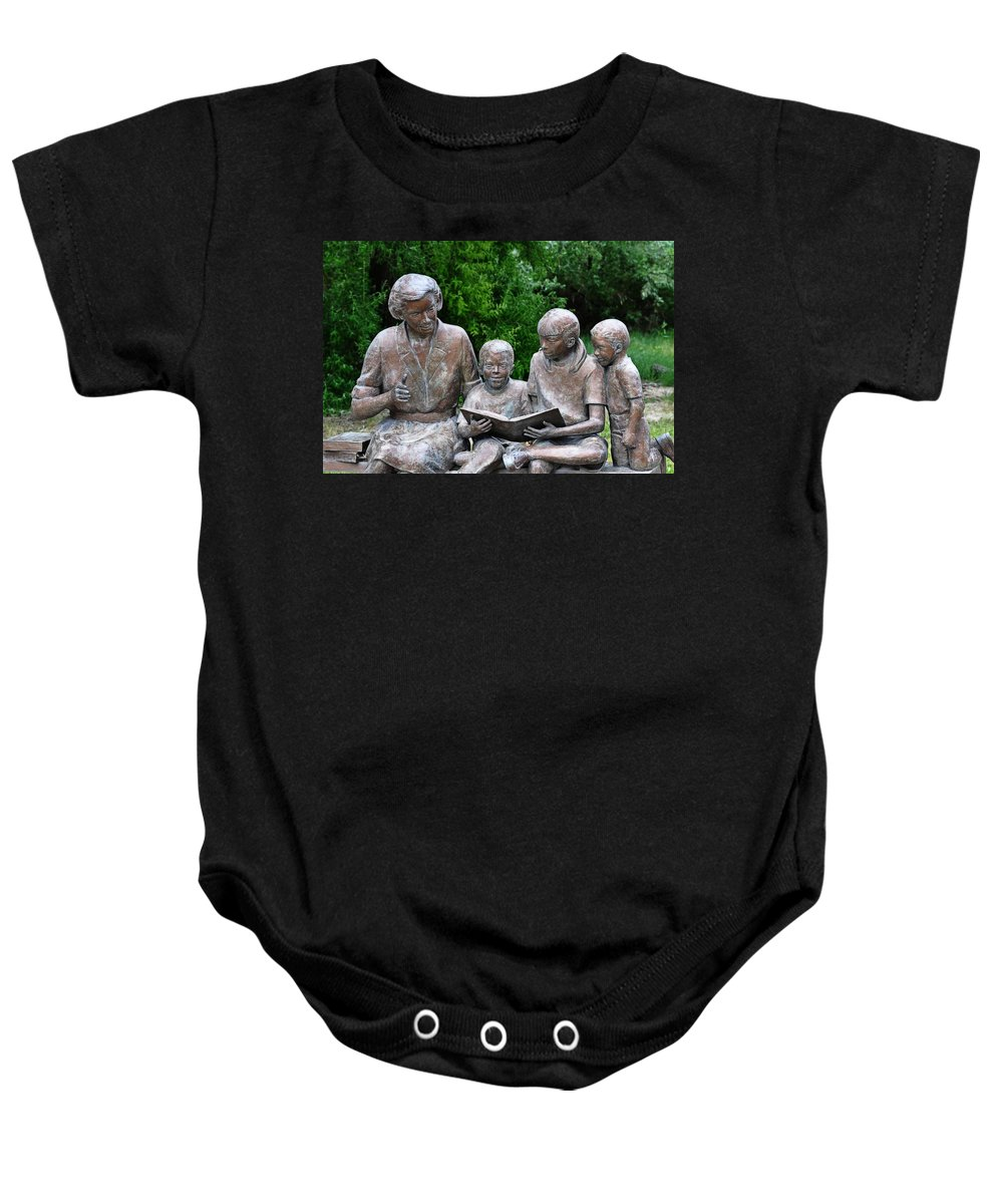 Melba Baby Onesie featuring the photograph Reading The Story by Image Takers Photography LLC