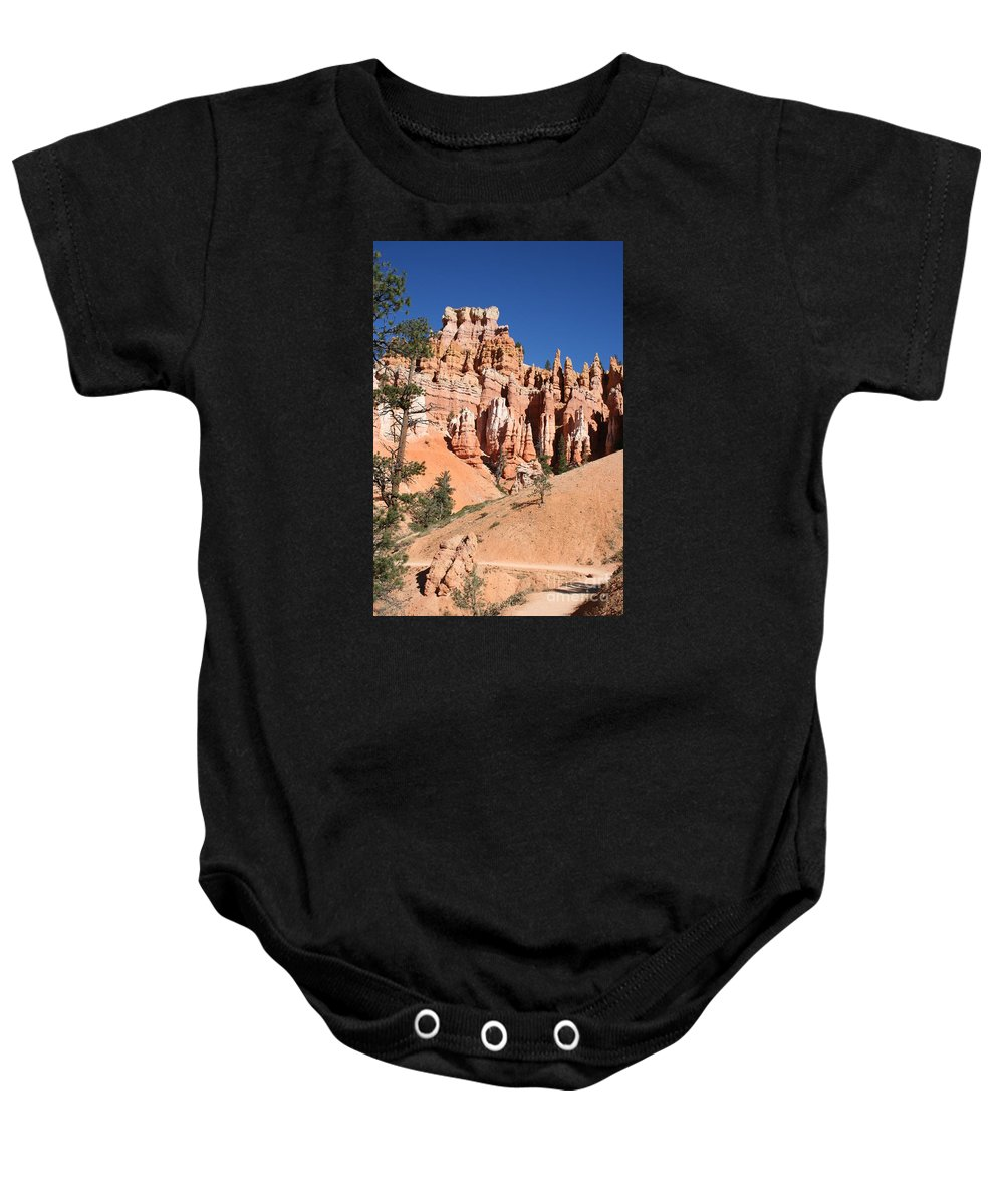 Canyon Baby Onesie featuring the photograph Red And White Rocks - Bryce Canyon by Christiane Schulze Art And Photography