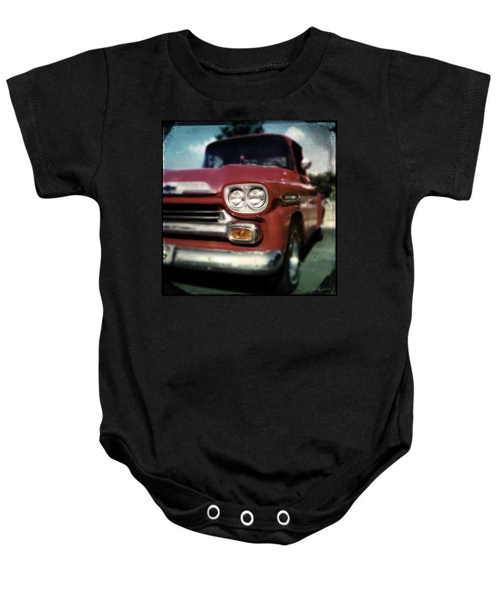 Classic Baby Onesie featuring the photograph Red Chevy Pickup by Tim Nyberg