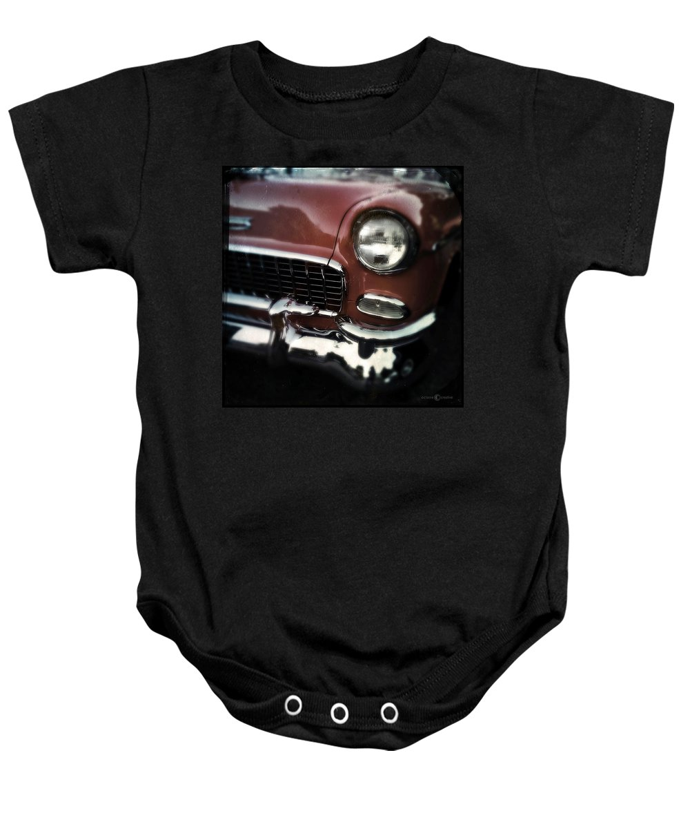 Classic Baby Onesie featuring the photograph Red Chevy by Tim Nyberg