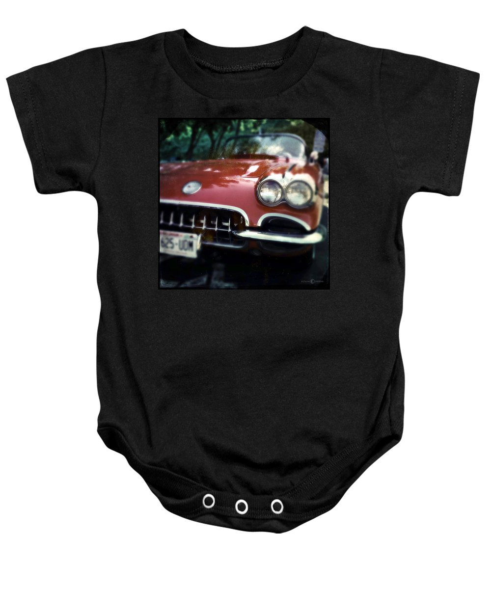 Classic Baby Onesie featuring the photograph Red Corvette With Trees by Tim Nyberg