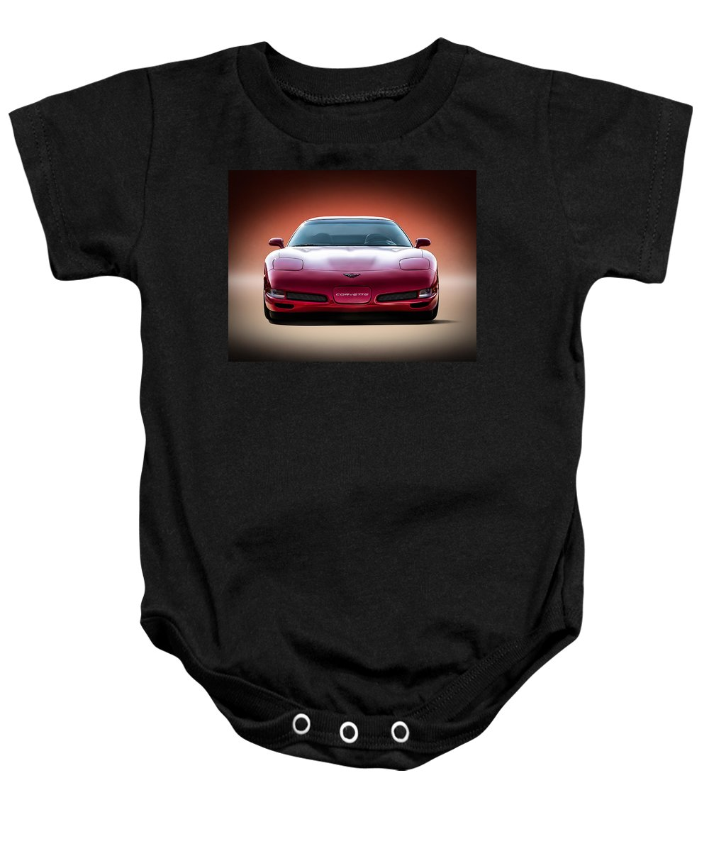 Chevy Baby Onesie featuring the digital art Red by Douglas Pittman