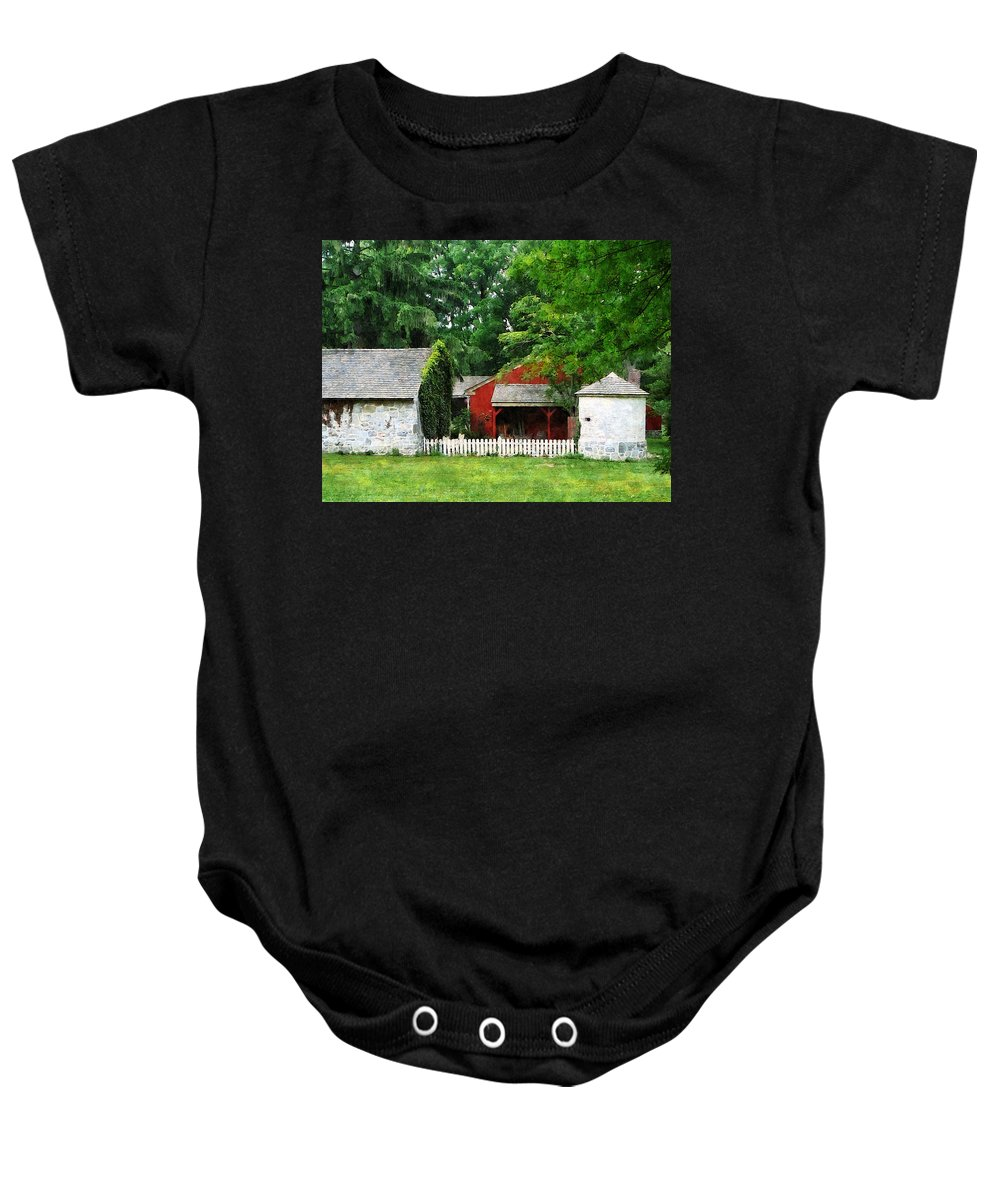 Silo Baby Onesie featuring the photograph Red Farm Shed by Susan Savad