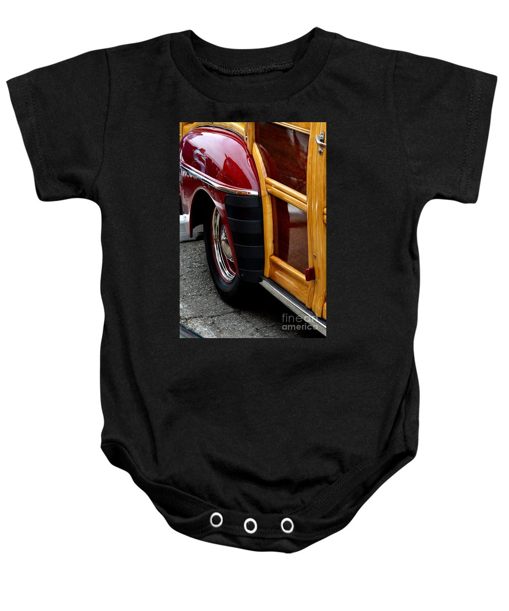 Baby Onesie featuring the photograph Red Fendered Woodie by Dean Ferreira