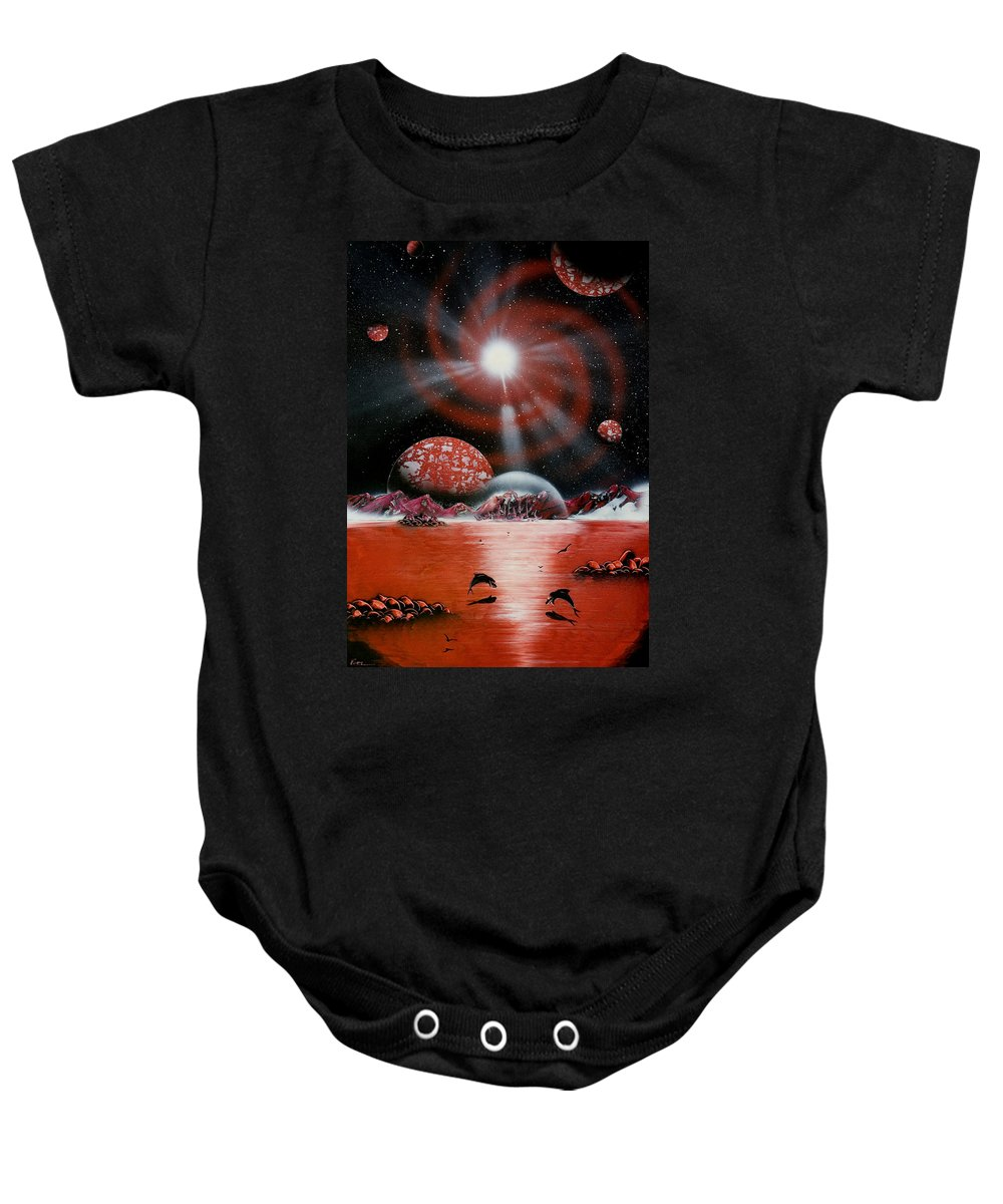 Baby Onesie featuring the painting Red Galactic Spiral by Ronny Or Haklay