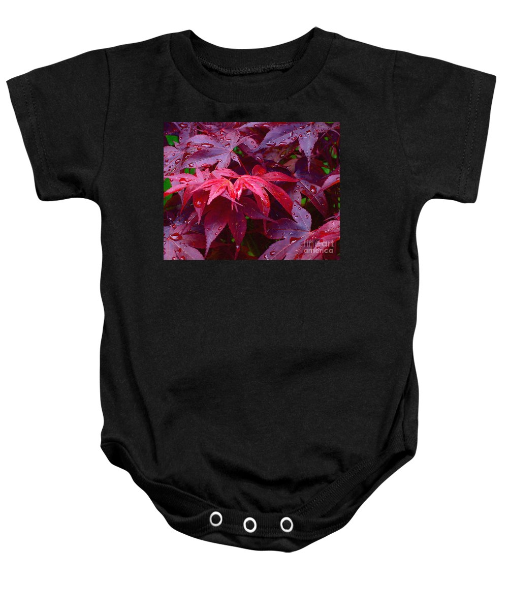 Rain Baby Onesie featuring the photograph Red Maple After Rain by Ann Horn