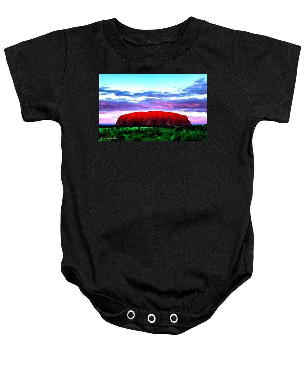 Mountain Baby Onesie featuring the painting Red Mountain Sunset by Bruce Nutting