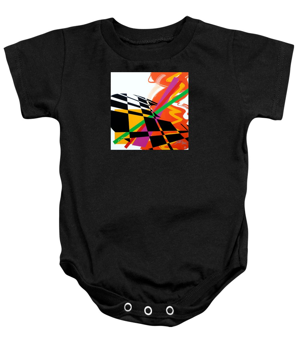 Abstract Baby Onesie featuring the painting Red Movement by Jean Pierre Rousselet