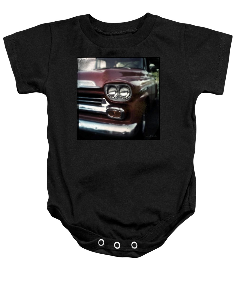 Classic Baby Onesie featuring the photograph Red Pickup by Tim Nyberg