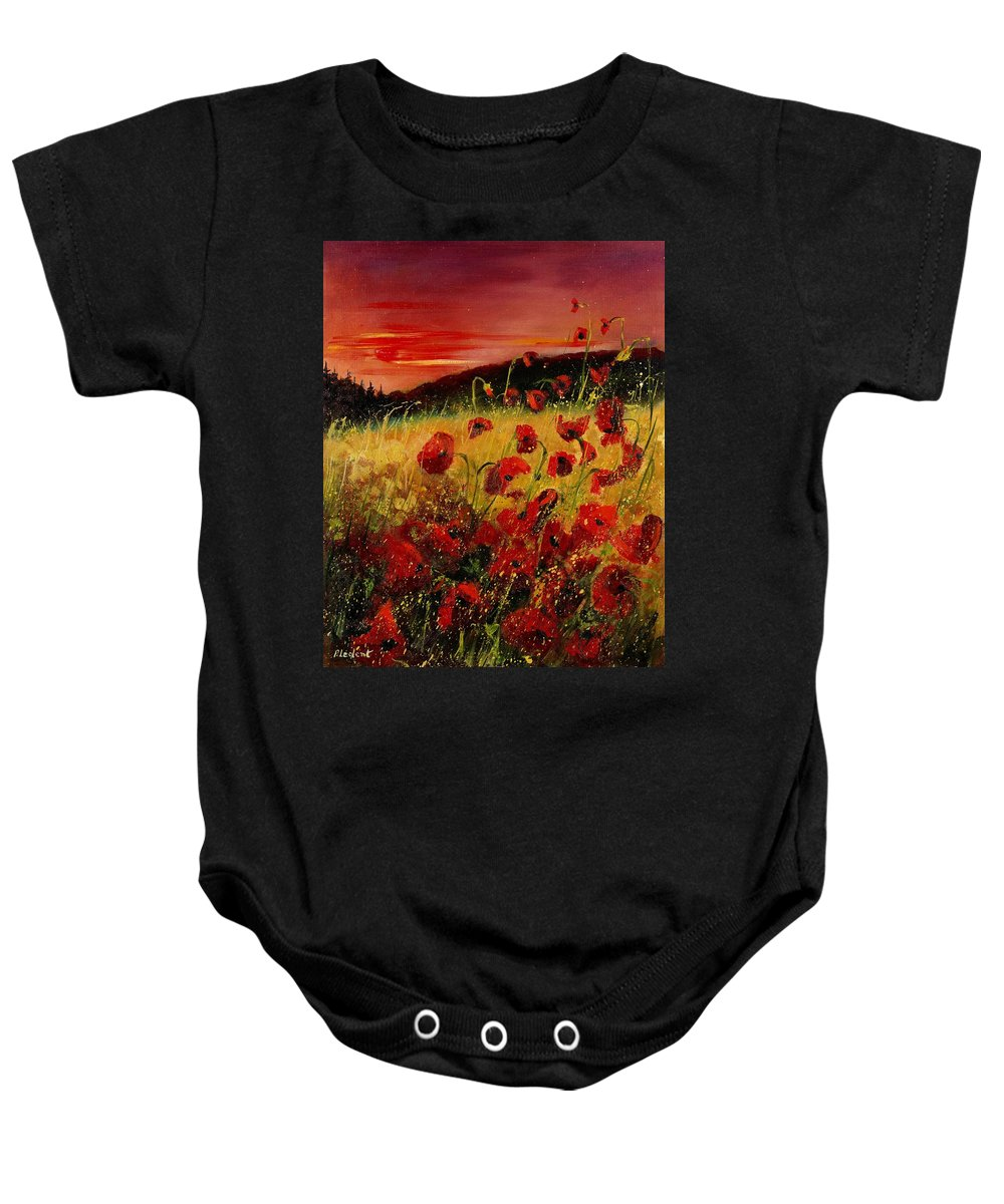 Poppies Baby Onesie featuring the painting Red Poppies And Sunset by Pol Ledent