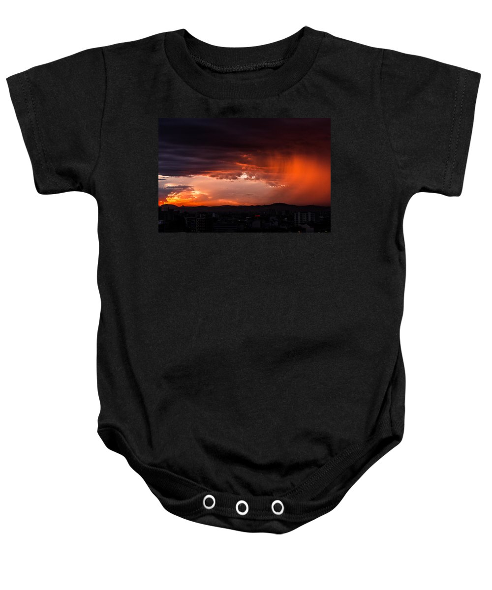 Sunset Baby Onesie featuring the photograph Red Rain Over Tana by Alex Lapidus