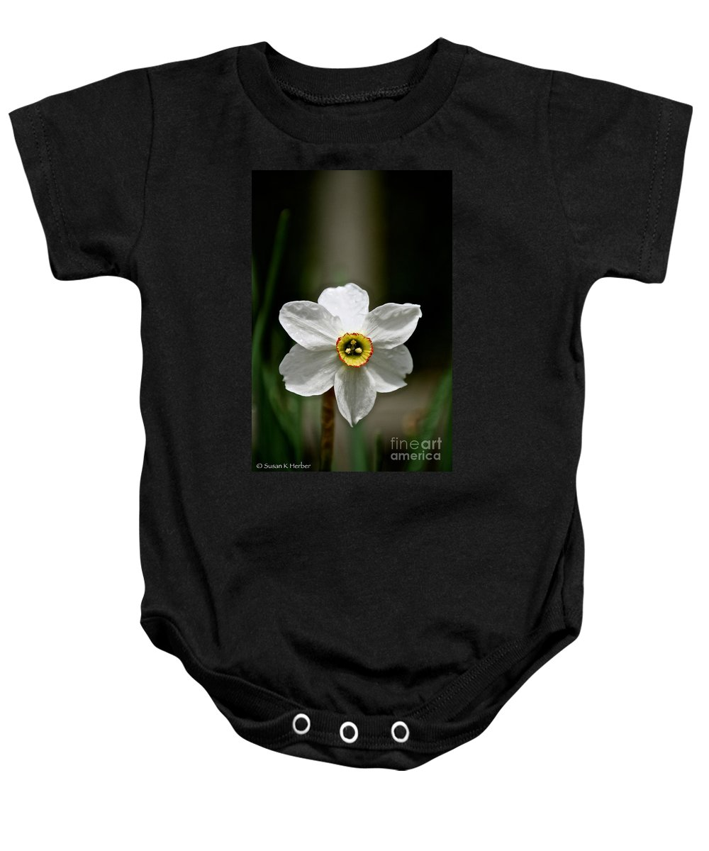 Flower Baby Onesie featuring the photograph Red Rim by Susan Herber