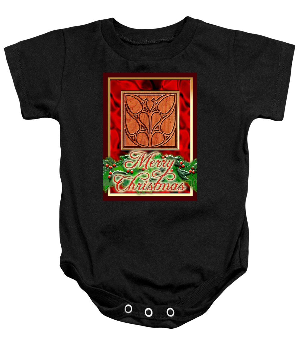 Christmas Baby Onesie featuring the digital art Red Satin Christmas by Melissa A Benson