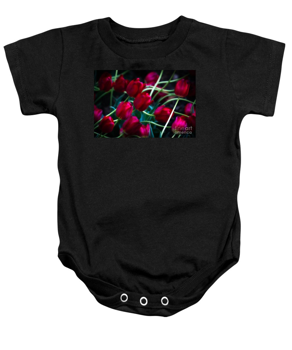 Red Baby Onesie featuring the photograph Red Tulip River by Doug Sturgess