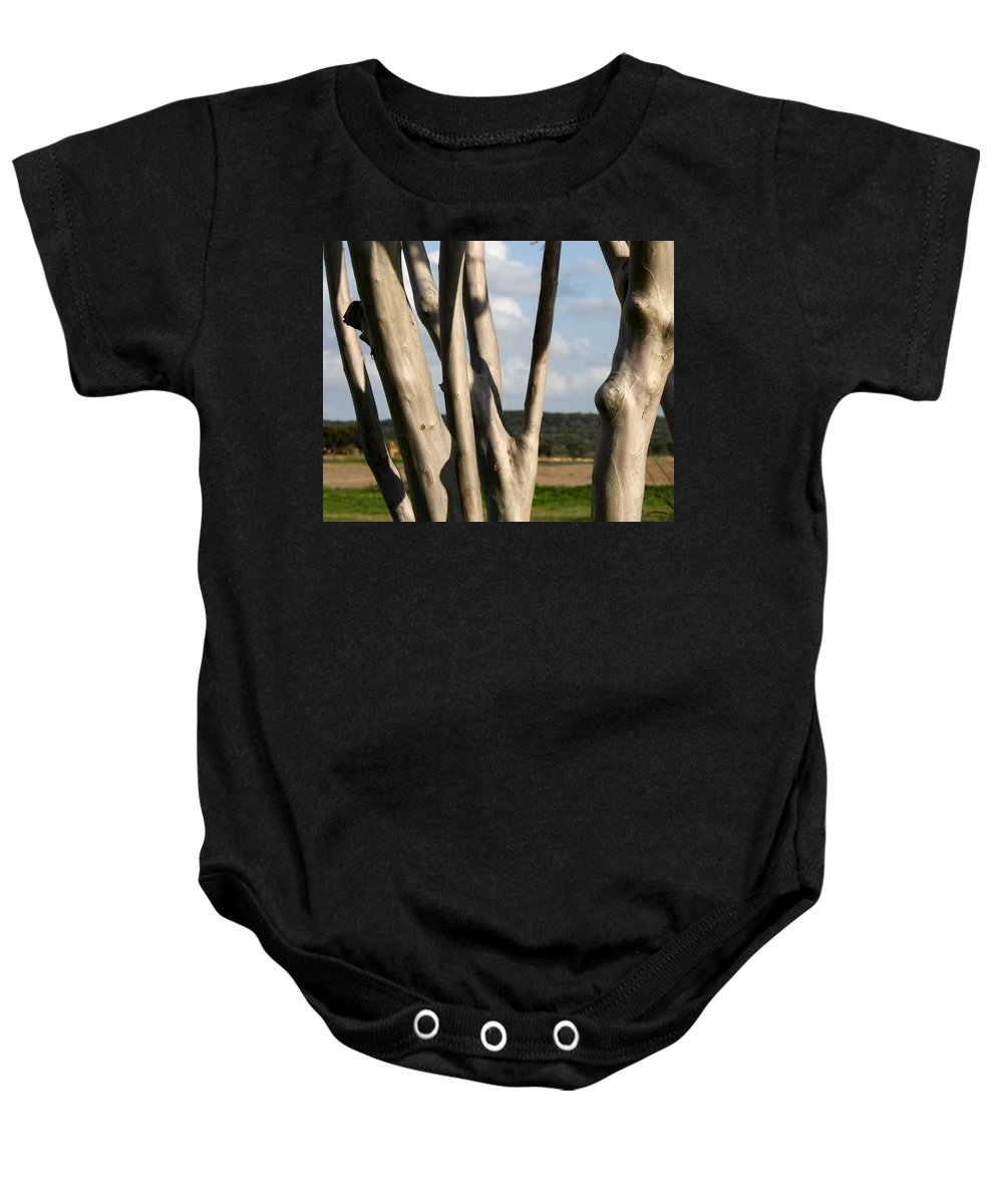 Tree Baby Onesie featuring the photograph Redbud Tree by Terry Fleckney