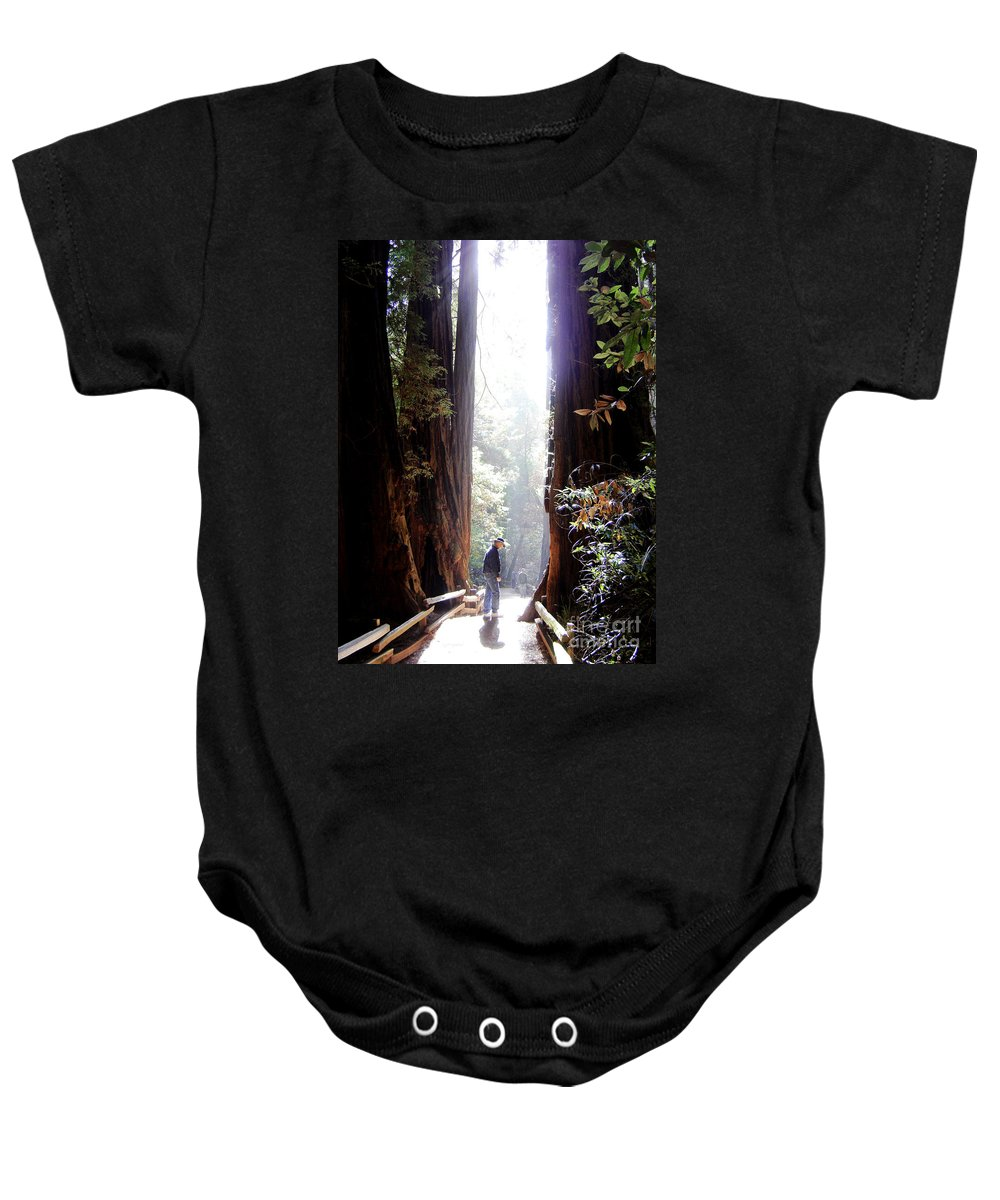 Pathway Baby Onesie featuring the photograph Redwood Path by Mary Rogers