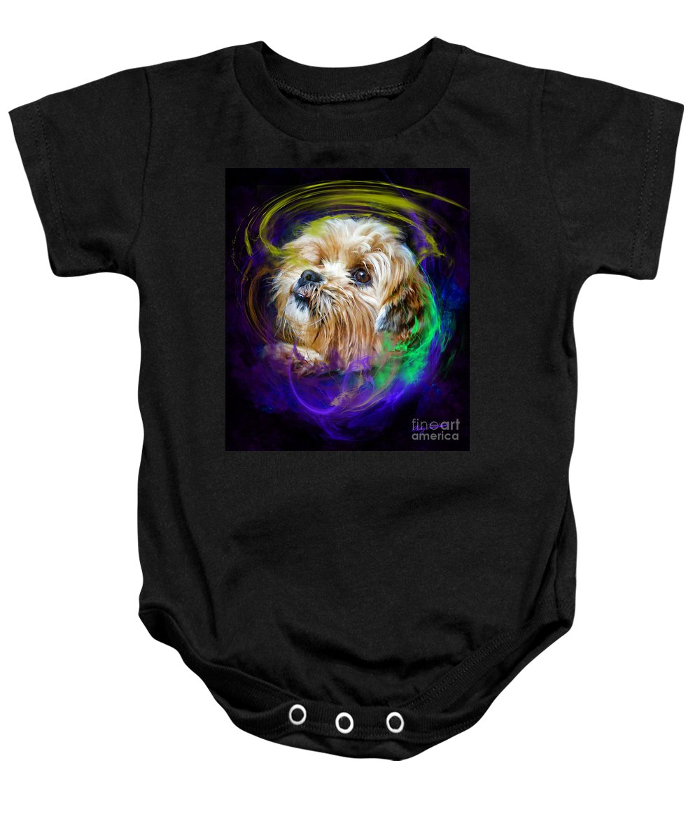 A Dogs Life Baby Onesie featuring the digital art Reflecting On My Life by Kathy Tarochione