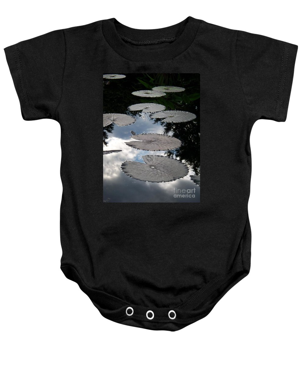 Water Lilies Baby Onesie featuring the photograph Reflections On A Lily Pond Monet by Eric Schiabor