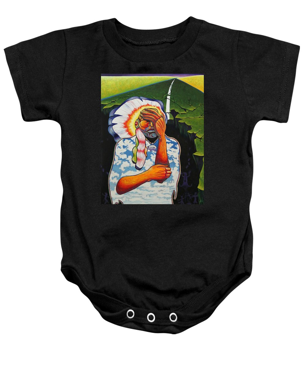 American Indian Baby Onesie featuring the painting Release Me by Joe Triano