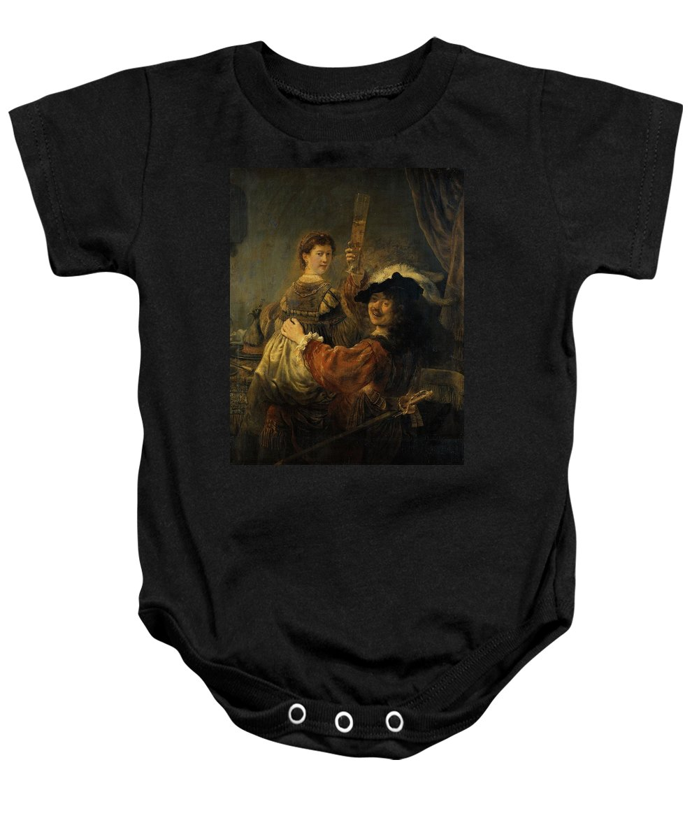 1635 Baby Onesie featuring the painting Rembrandt And Saskia In The Parable Of The Prodigal Son by Rembrandt van Rijn