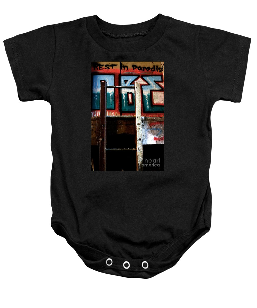 Graffitti Graffiti Baby Onesie featuring the photograph Rest In Paradise by Jacqueline Athmann