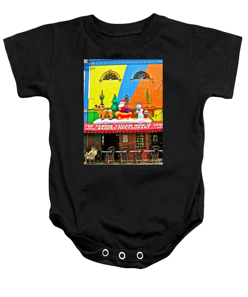 Restaurant In Gateway To The Amazon River In Iquitos Baby Onesie featuring the photograph Restaurant In Gateway To The Amazon River In Iquitos-peru by Ruth Hager