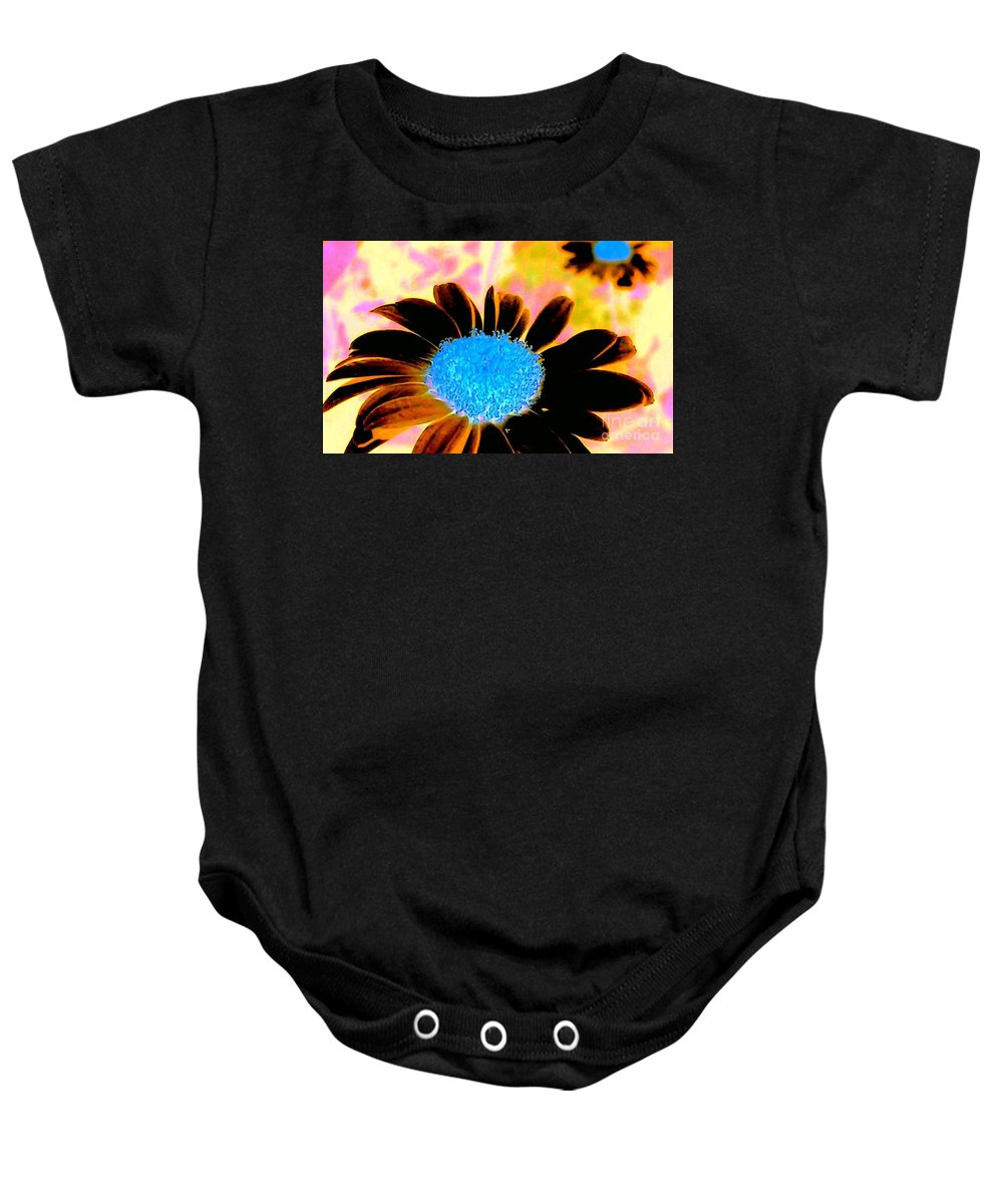 Daisy Baby Onesie featuring the photograph Retro Daisy by Jacqueline McReynolds