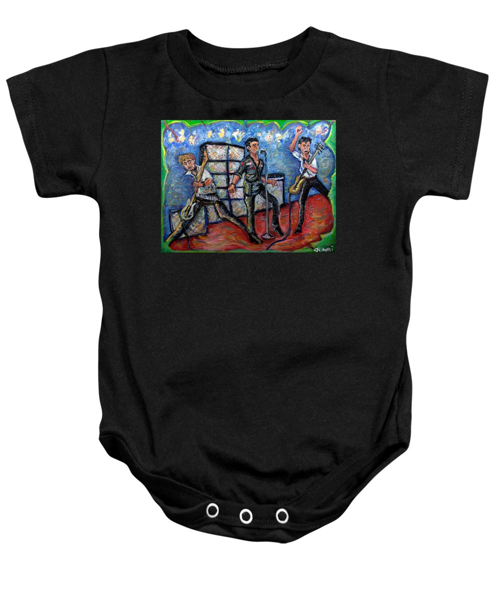 The Clash Baby Onesie featuring the painting Revolution Rock The Clash by Jason Gluskin