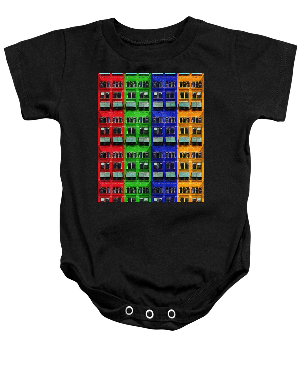 Rgby Baby Onesie featuring the photograph Rgby - Downtown Apartments by Shawna Rowe