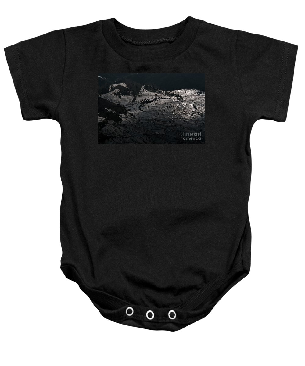Agriculture Baby Onesie featuring the photograph Rice Terrace In Black And White by Kim Pin Tan