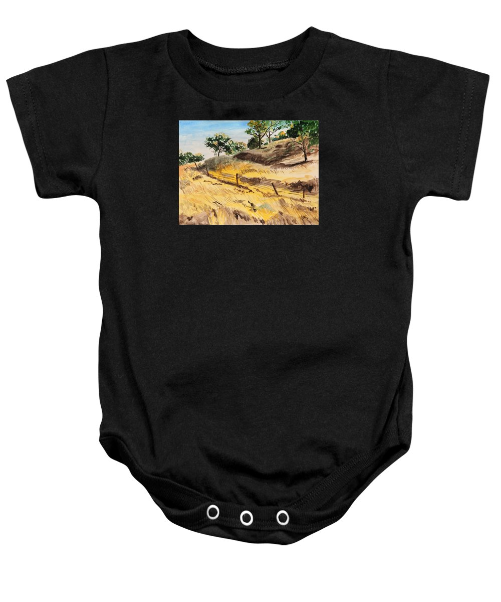 Autumn Baby Onesie featuring the painting Riding By Back Road by Masha Batkova