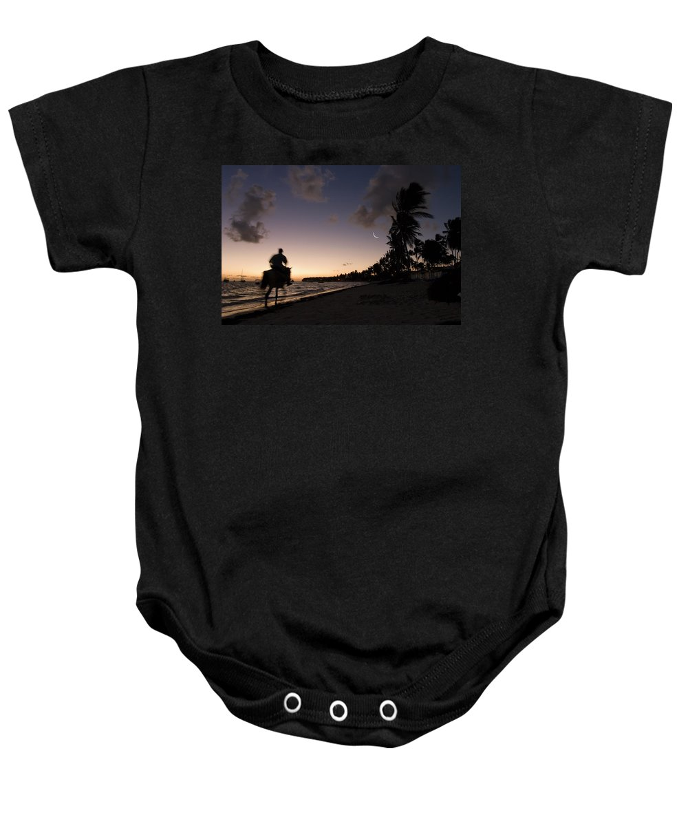 3scape Baby Onesie featuring the photograph Riding On The Beach by Adam Romanowicz