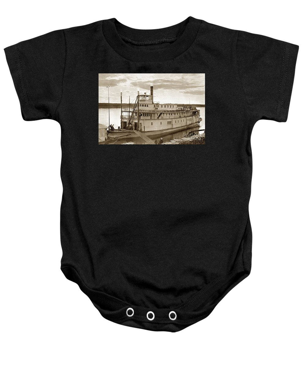 River Boat Yukon Baby Onesie featuring the photograph River Boat Yukon Stern Wheel Alaska 1915 by California Views Archives Mr Pat Hathaway Archives