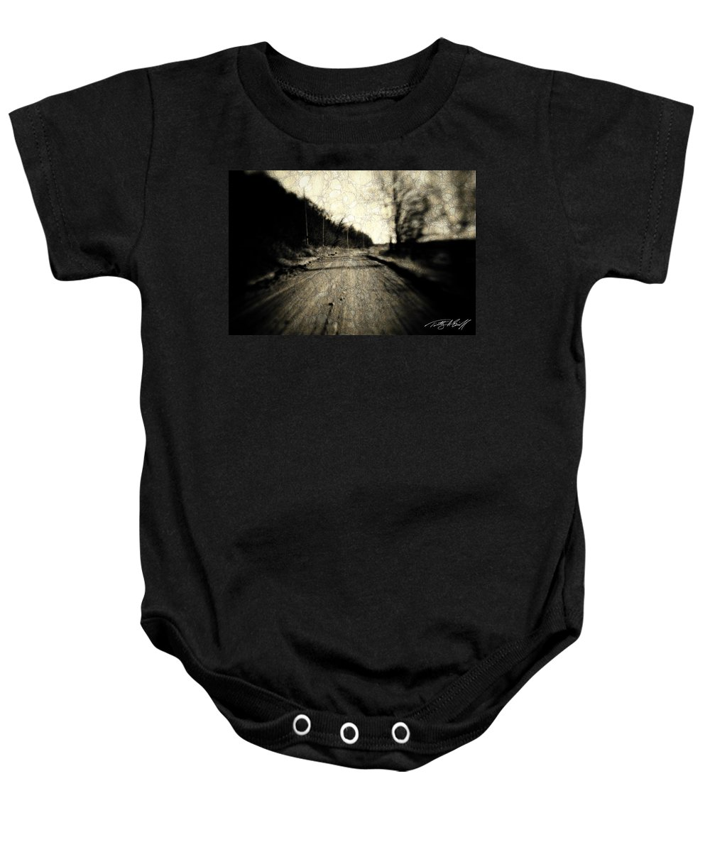 B&w Baby Onesie featuring the photograph Road Of The Past by Timothy Bischoff