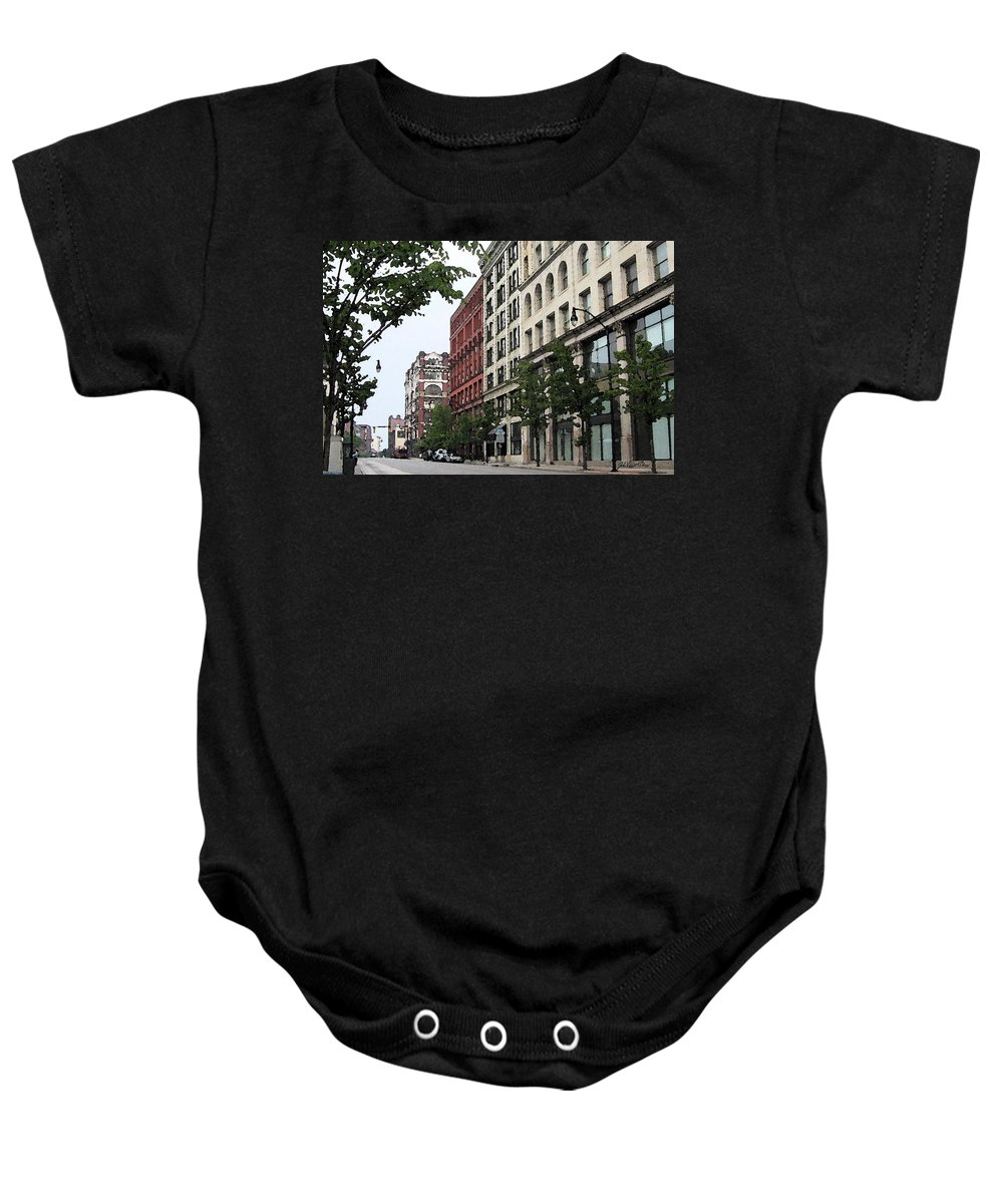 Digital Painting Baby Onesie featuring the digital art Rochester Downtown IIi 2009 by John Vincent Palozzi