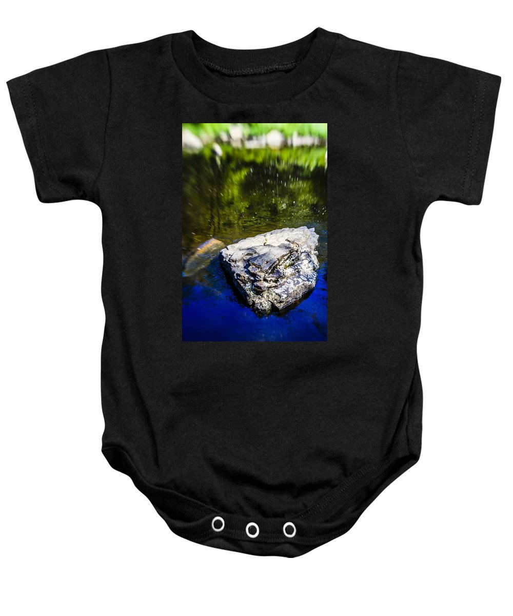 Water Baby Onesie featuring the photograph Rock In The Water by Alex Potemkin