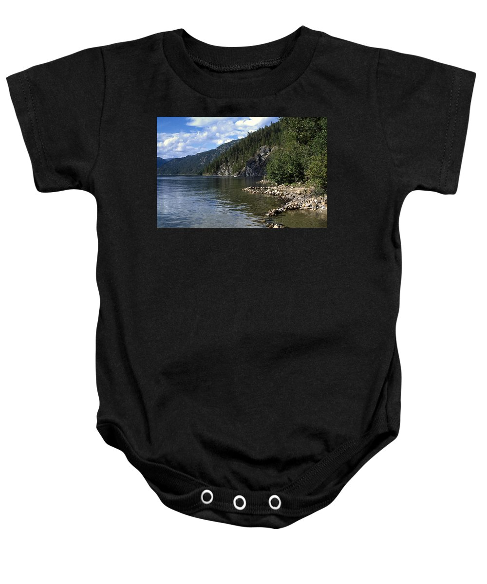 Americas Baby Onesie featuring the photograph Rock Pools On Christina Lake by Roderick Bley