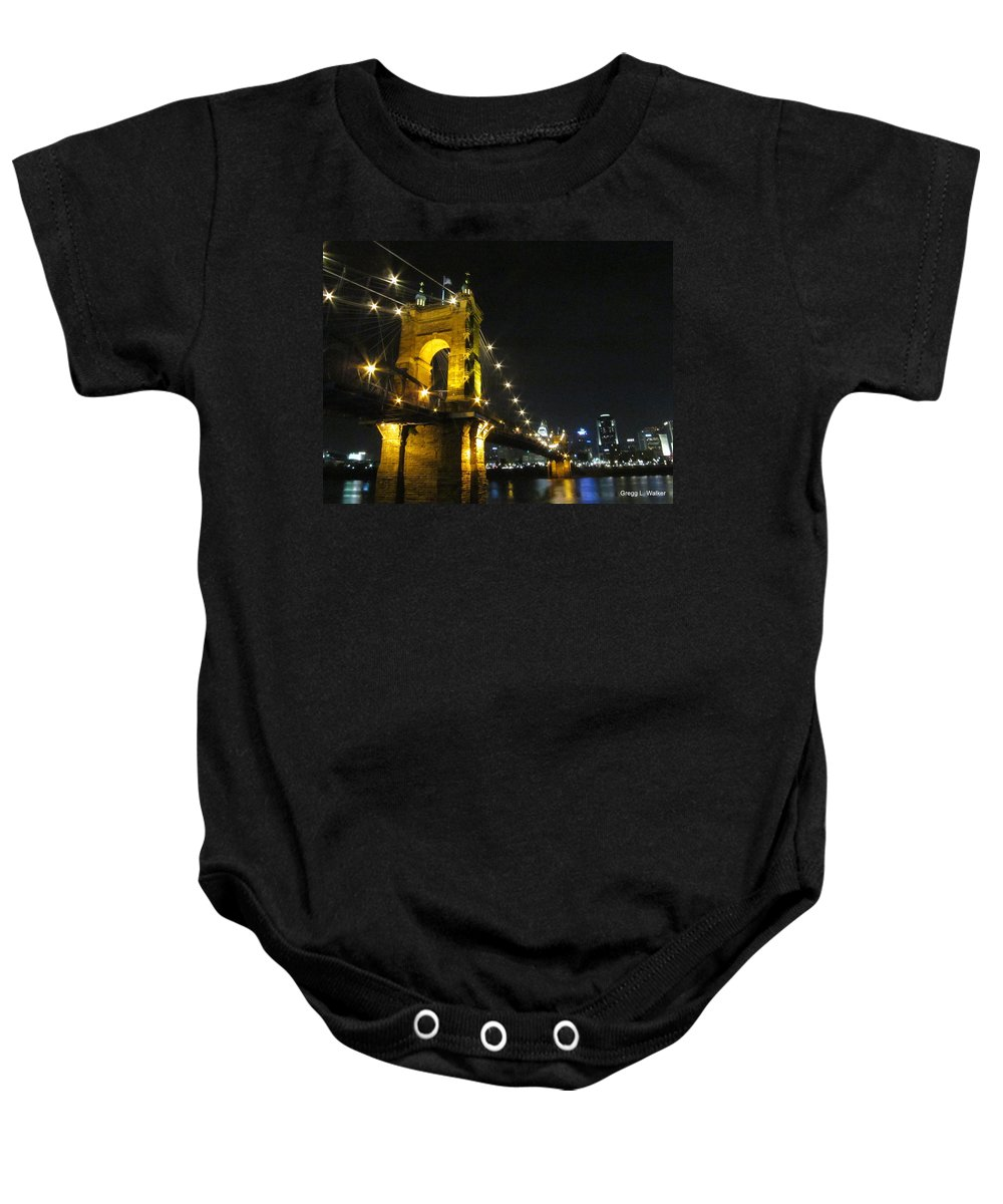 Roebling Baby Onesie featuring the photograph Roebling Bridge II by Artistic Explorer Creations By Gregg L Walker