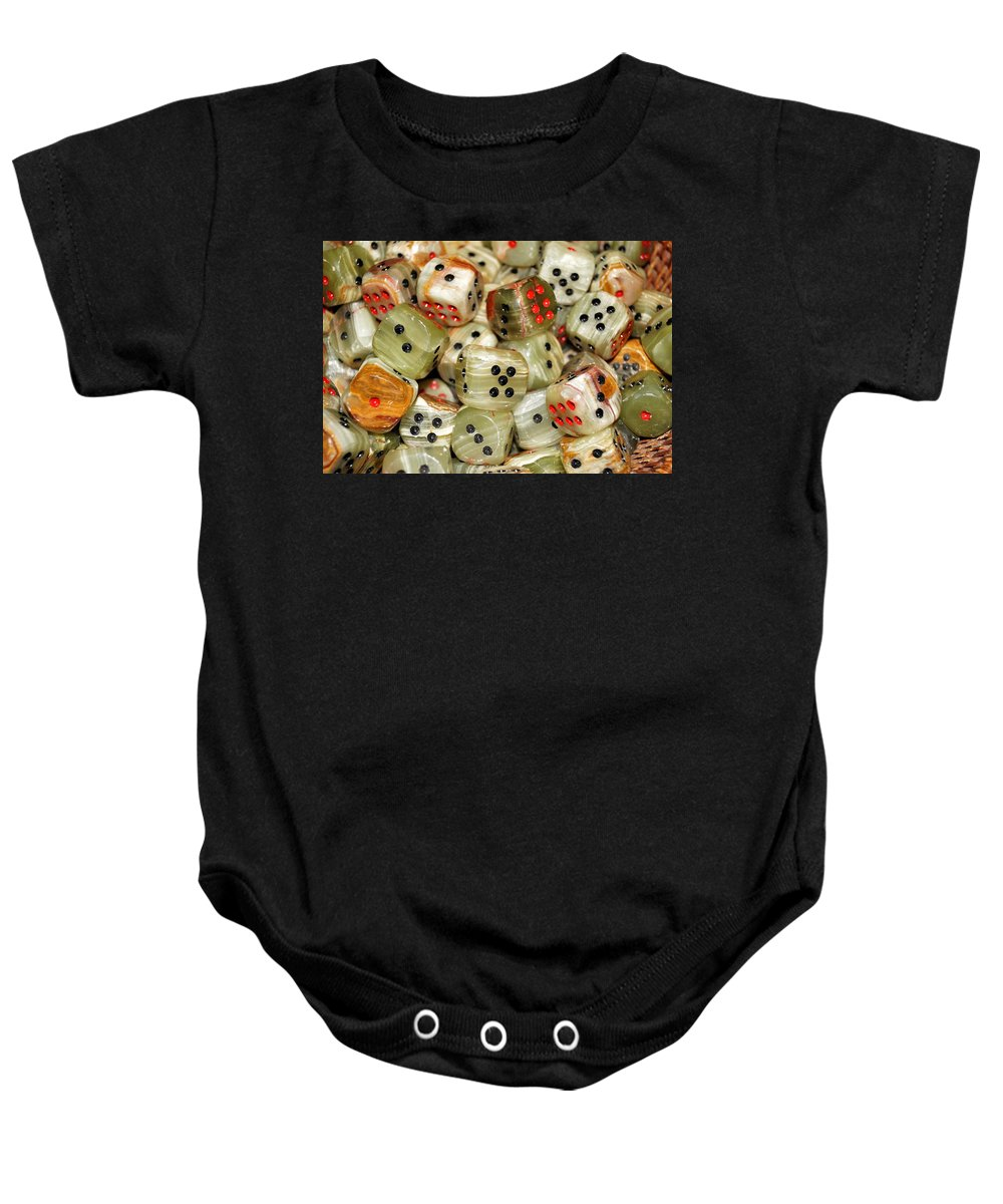 Dice Baby Onesie featuring the photograph Roll The Dice by Jean Goodwin Brooks