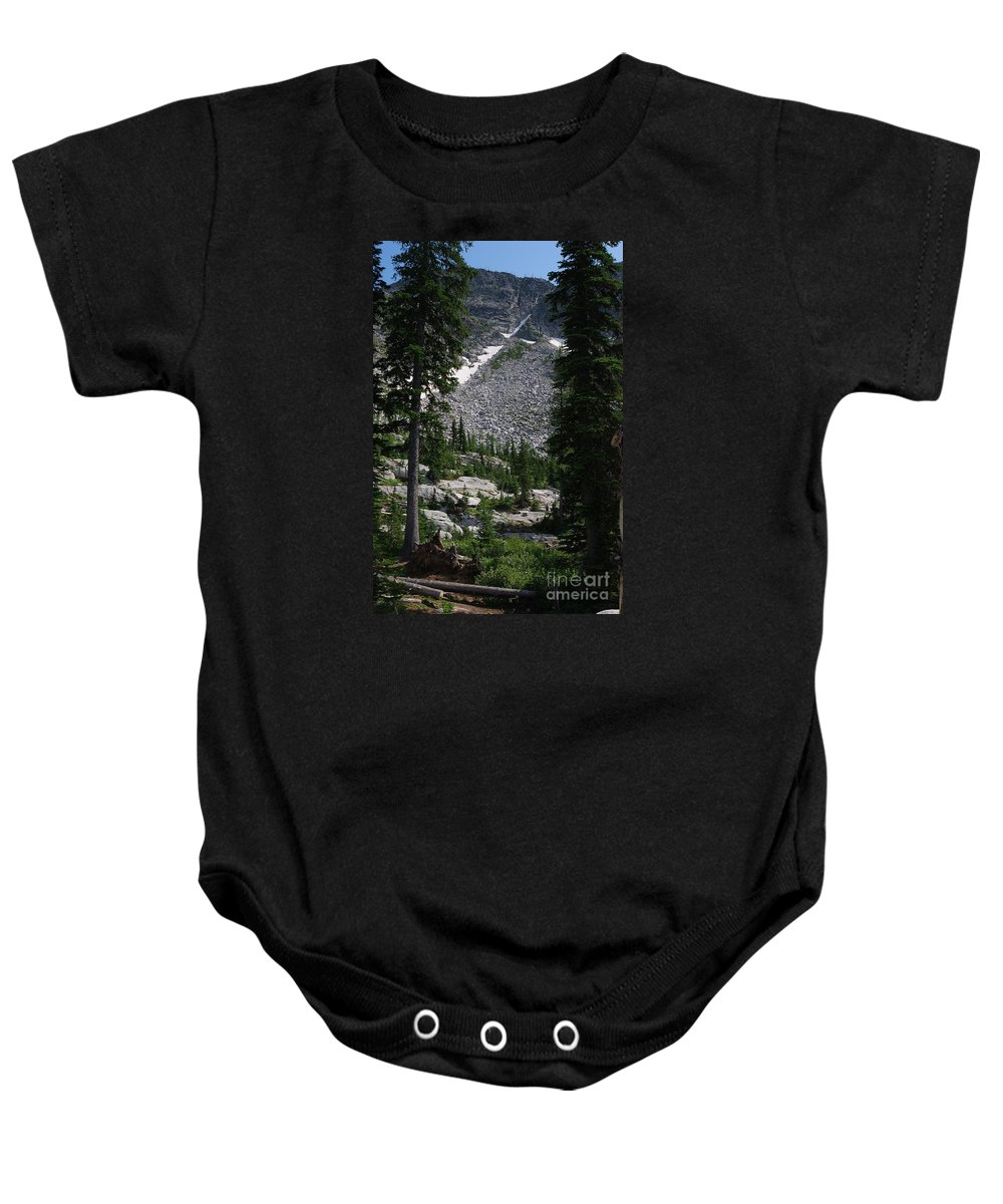 Roman Nose Baby Onesie featuring the photograph Roman Nose Trails by Sharon Elliott