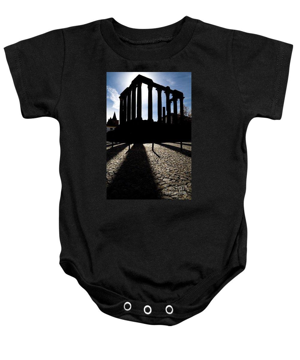 Roman Temple Baby Onesie featuring the photograph Roman Temple Silhouette by Jose Elias - Sofia Pereira
