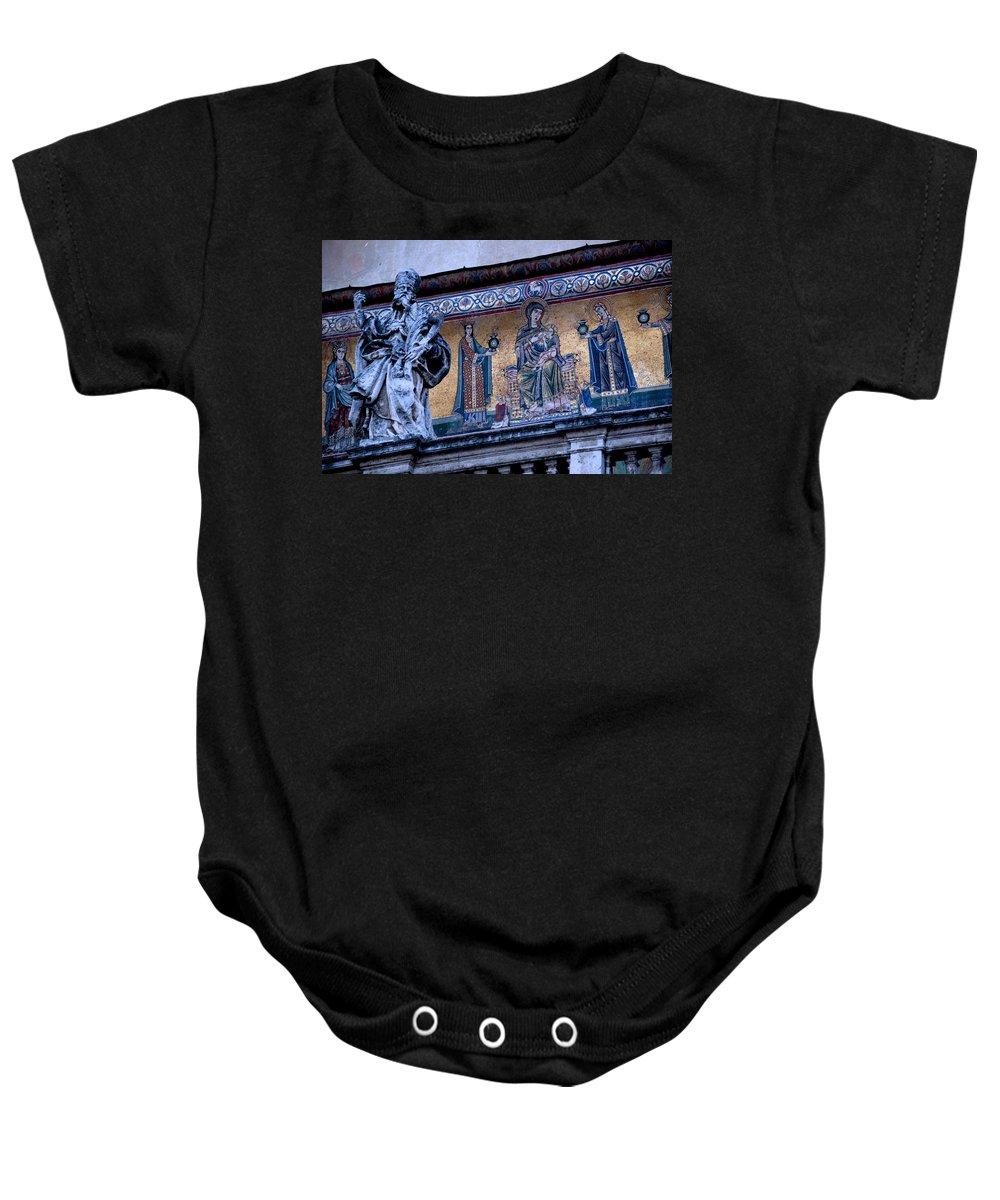 Rome Baby Onesie featuring the photograph Romanesque Campanile by Eric Tressler